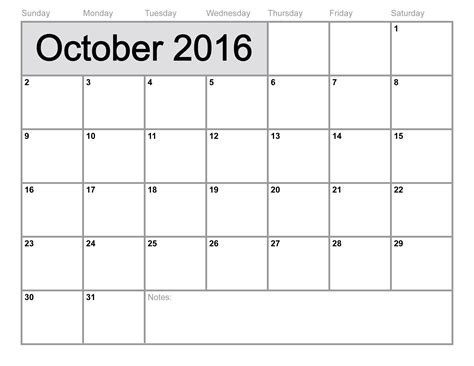Calendar Of October October 2016 Calendar Printable Template 8 Templates