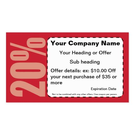 20 coupon business card zazzle