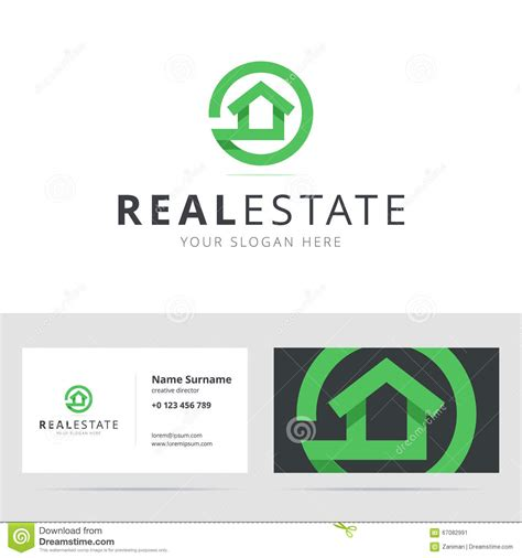 Cards Template House by House Logo Business Card Vector Illustration