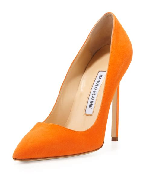 order shoes manolo blahnik bb suede 115mm orange made to order in