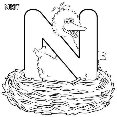 coloring pages sesame street alphabet coloring activity pages quot n quot is for quot nest quot big bird
