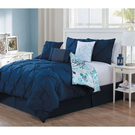navy blue comforter queen new queen king bed bag 7 pc navy blue pinch pleat nautical