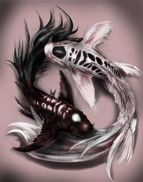 artstation yin yang koi fish tattoo design commission