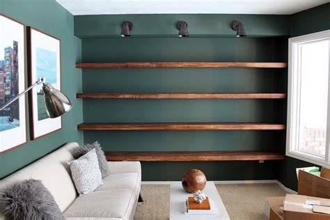 diy solid wood wall to wall shelves chris