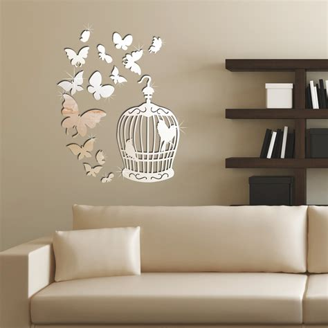 Room Wall Decor Wall Designs Living Room Wall Butterfly Silver Mirrored Wall Decals Stickers