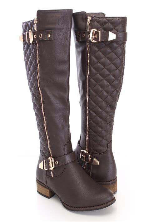 brown quilted boots faux leather