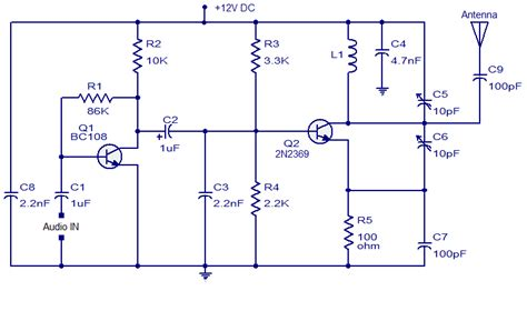 fm transmitter with one transistor audio wiring diagram