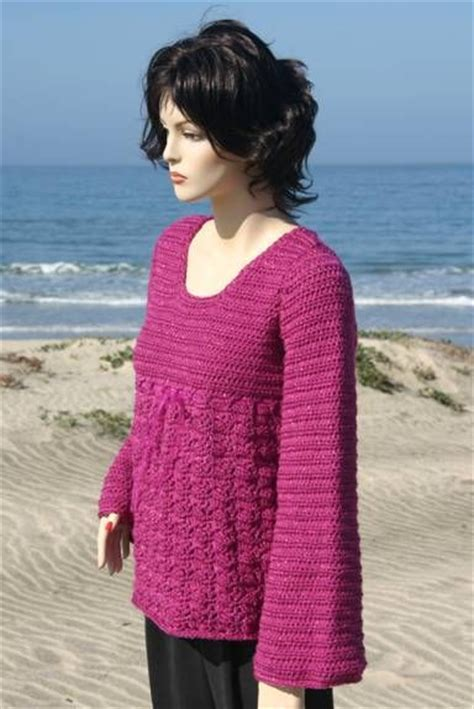 free crochet pattern ladies jersey empire waist pullover crocheted pattern go di yourself