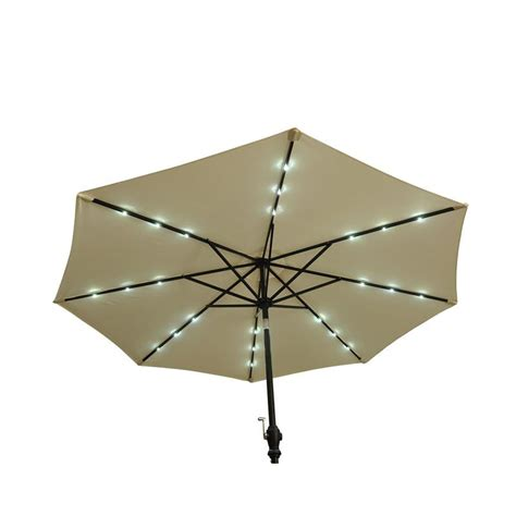 Outsunny 9 Outdoor Patio Umbrella W Lights Cream Solar Powered Patio Umbrella Lights