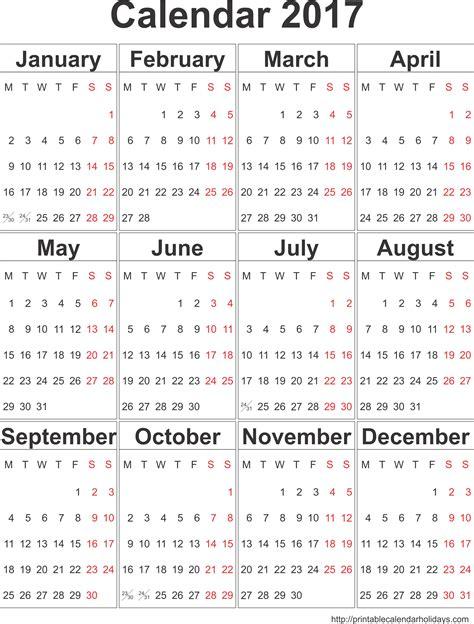 2017 yearly calendar a