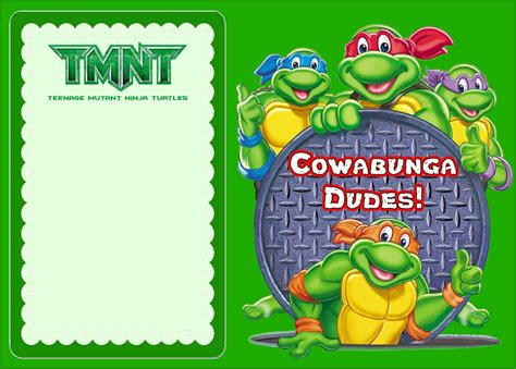 turtle birthday card template mutant turtles another great idea for a