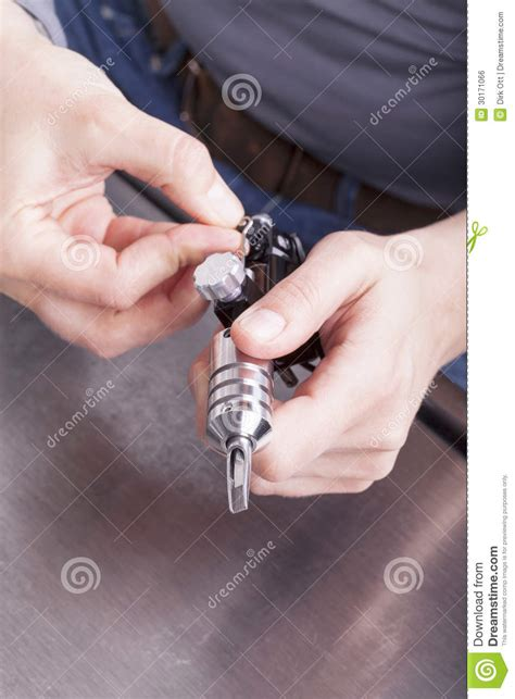 preparing for a tattoo artist at work royalty free stock image image