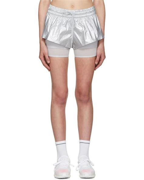 Adidas Stella Mc Cartney Running Shorts 1 adidas by stella mccartney silver 2 in 1 running shorts in multicolour lyst