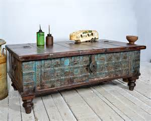 Antique Trunk Coffee Table Reclaimed Trunk Coffee Table Antique Indian Blue