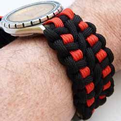paracord watchband double wide 3 color cobra braid 250x250 20