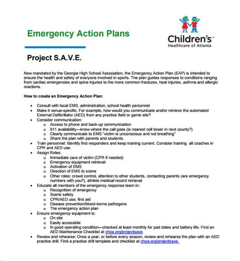 sample emergency action plan 8 examples in pdf word