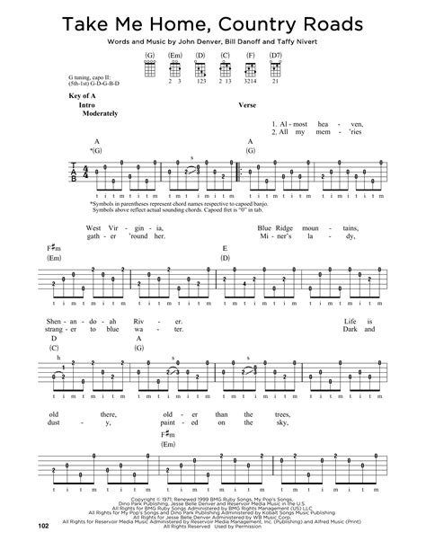printable lyrics country roads john denver take me home country roads sheet music by john denver