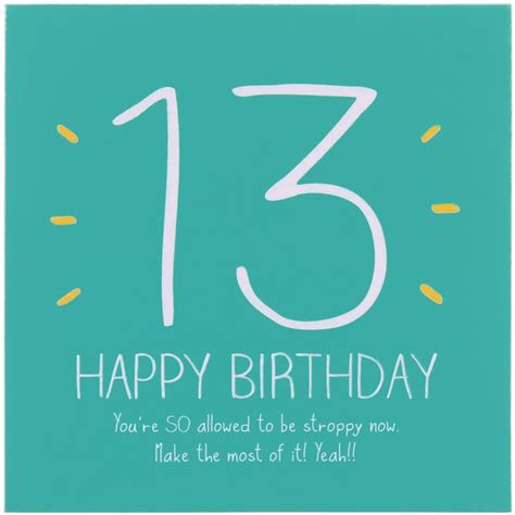 Happy 13th Birthday Quotes Happy Jackson 13th Happy Birthday Card Temptation Gifts