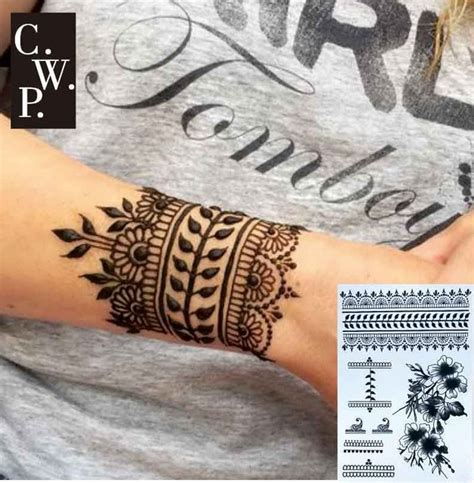 henna tattoo blisters bh1704 1 black henna cuff with flower wrist