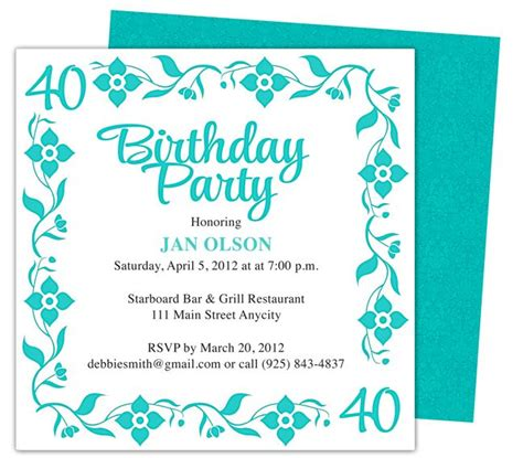 40th birthday invites templates border 40th birthday invitation templates shown here