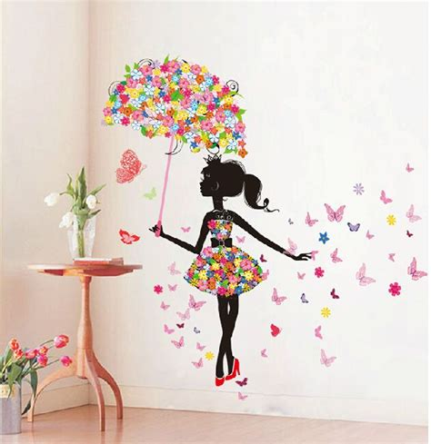 wall art for girls bedroom butterfly girl removable wall art sticker vinyl decal diy