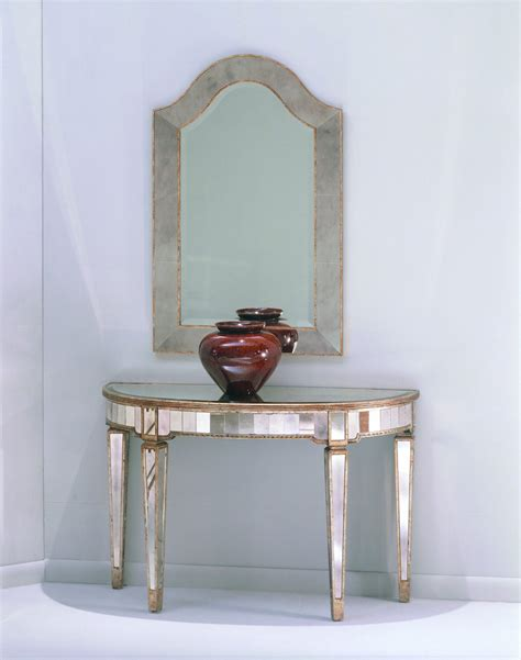 Borghese mirrored console table antique mirror amp silver leaf finish 8311 400 decor south