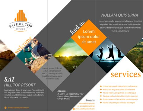 layout for flyer brochure design for sai hill top resort latest portfolio