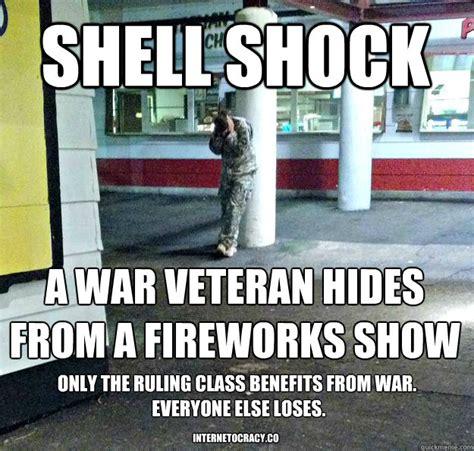Veteran Meme - shell shock a war veteran hides from a fireworks show only