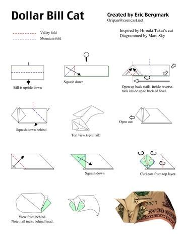 Money Origami Cat - dollar bill origami
