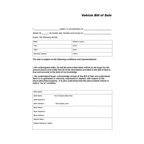 vehicle report sle vehicle bill of sale automobile forms standard forms