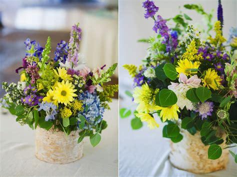 Yellow Purple Blue White Wildflower Inspired Birch Purple And Yellow Wedding Centerpieces