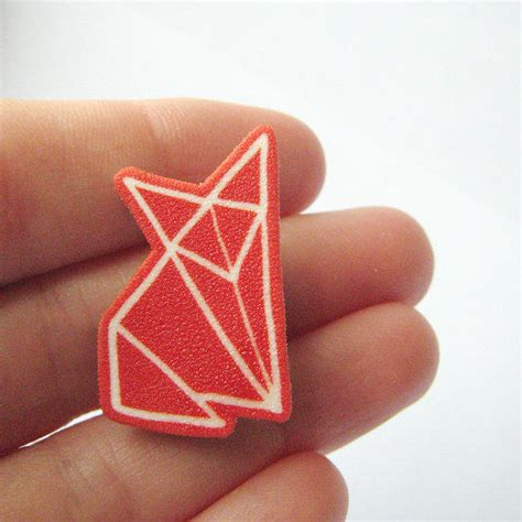 How To Make A Paper Badge - fox origami brooch badge shrinky from zyzanna on etsy