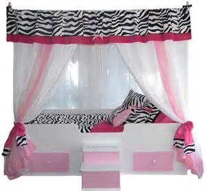 Girls Pink Canopy by Zebra Canopy Bed With Bedding Pink