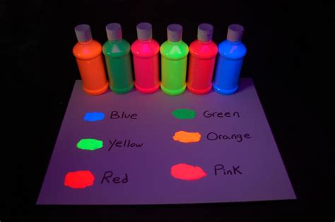 6 pack 8oz assorted blacklight reactive fluorescent tempera paint ebay