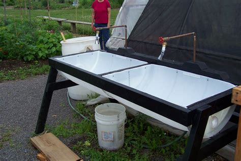 plastic tub in sink veggie washing sink made from a 55 gallon plastic barrel