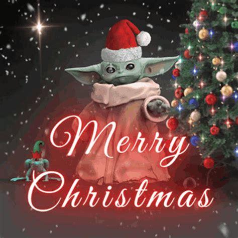 merry christmas baby yoda gif merrychristmas babyyoda starwars discover share gifs