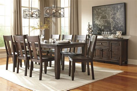 9 rectangular dining table set with wood seat chairs