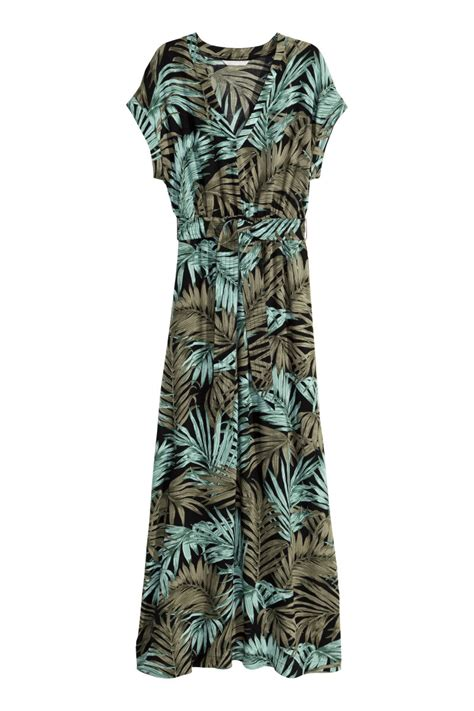 Long Dress   Black/khaki green   SALE   H&M US