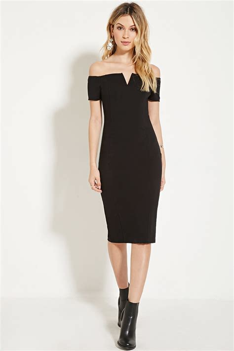 Black Shoulder Dress lyst forever 21 the shoulder bodycon dress in black
