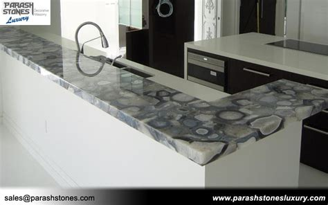 grey agate counter top furniture backlit slab collection