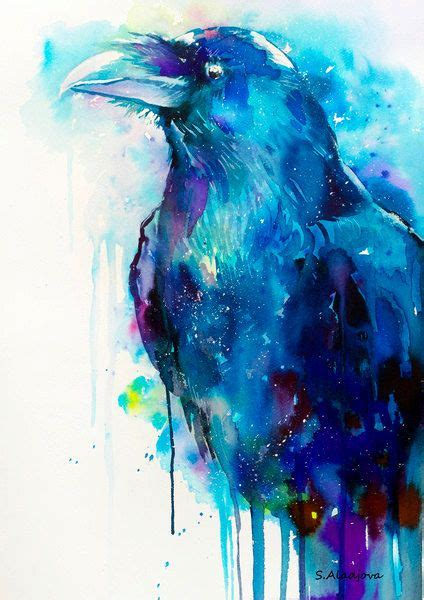 watercolor tattoo raven watercolor painting print bird wildlife por