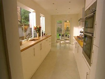 ideas for narrow kitchens kitchen idea long narrow kitchen design with window over