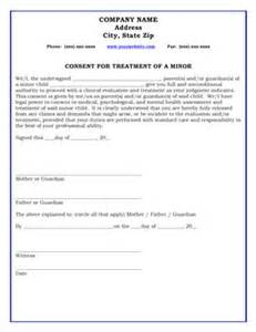 consent for treatment of a minor form