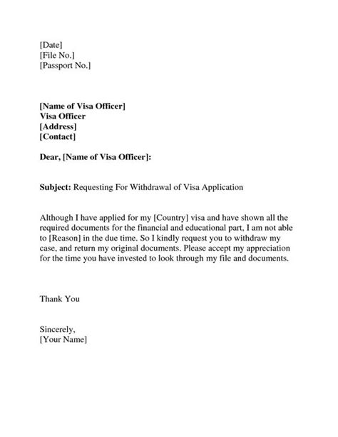 Withdrawal Letter Format Sle Cover Letter Study Visa Application