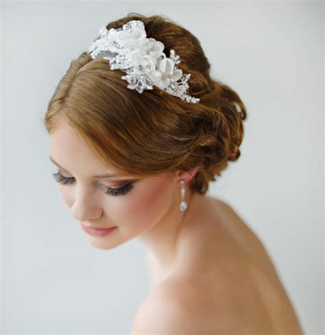 Wedding Hair Accessories Lace by Bridal Headband Floral Headband Ivory Lace Headband