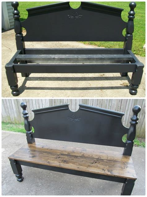 diy headboard bench 8 diy bed frame garden bench projects picture instructions