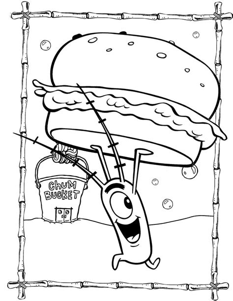 spongebob coloring pages plankton with krabby patty