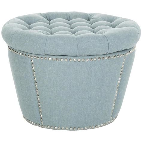 storage ottoman round safavieh florence tufted round nailhead trim light blue