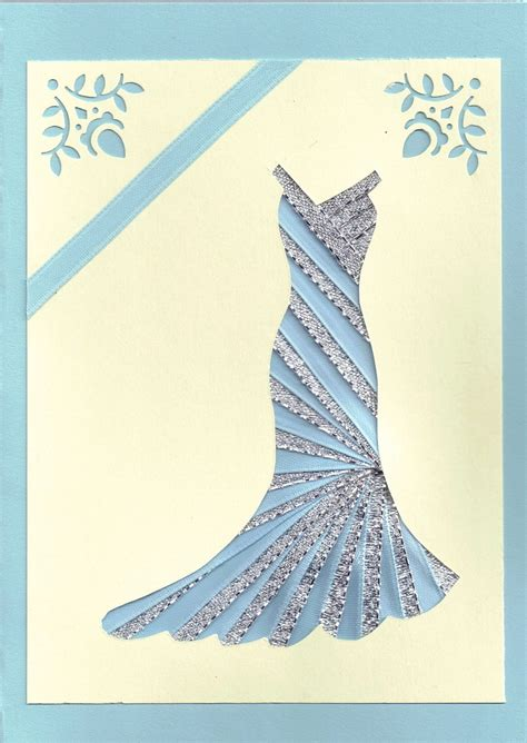 folded dress card template ribbon iris fold card dress in silver and blue
