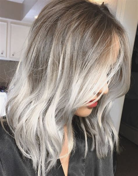 ashblond with silver highlites short hair white grey balayage